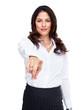 Business woman touching a copyspace.