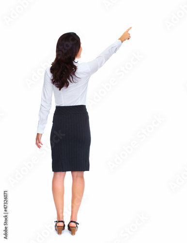 Business woman touching a copyspace.