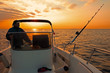 canvas print picture - modern fishing boat at sunrise