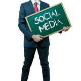 Business man holding board on the background, Social Media