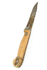 Old rusty knife with wooden handle