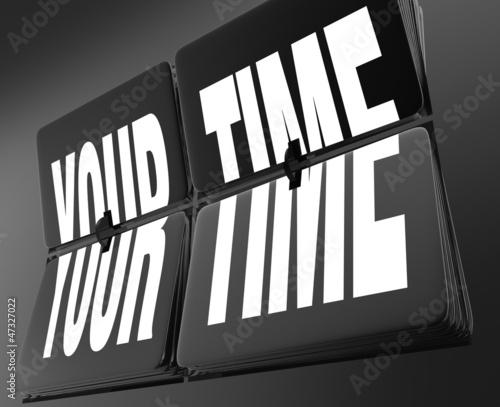 Your Time Words on Retro Clock Flip Tiles Personal Break Vacatio