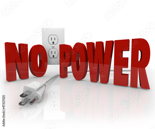 No Power Words Electrical Cord Outlet Electricity Outage