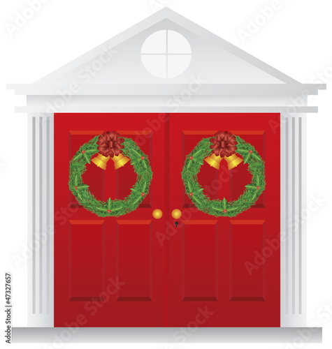 Christmas Wreath Hanging on Double Red Door Illustration