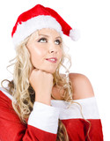 Isolated Santa Woman Thinking Up Blank Copyspace