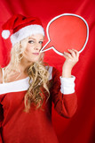 Christmas Girl Talking Though Copyspace Banner