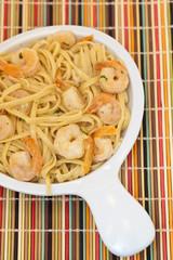 A healthy dish of shrimp scampi pasta