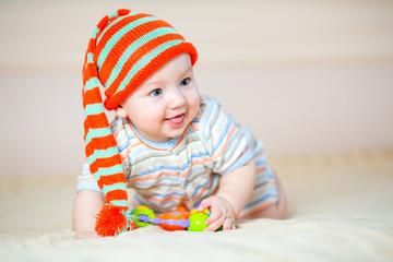 cute crawling baby boy indoors