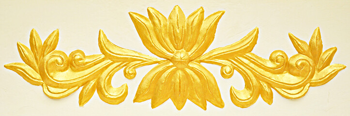 Asian style golden bas-relief on white background