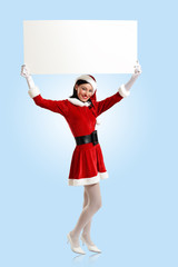 santa girl with a blank banner