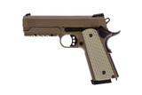 Desert tactical pistol on white background military model