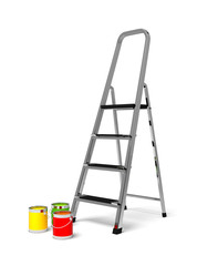 metal stairs stepladder and paint