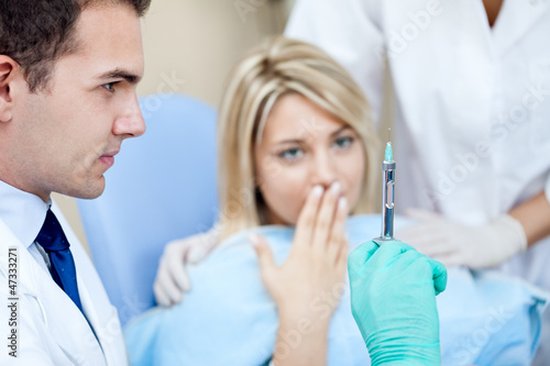Terrified patient at the dentist
