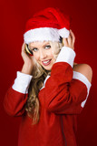 Happy Dj Christmas Girl Listening To Xmas Music