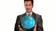 businessman's got the whole world in his hands