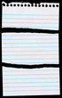 Notepaper page torn in 3 pieces isolated on black.