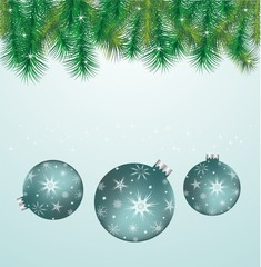 Blue spheres, Christmas branches