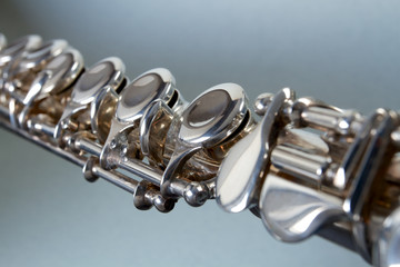 close-up of a silver flute