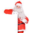Santa Claus holding a blank sign isolated