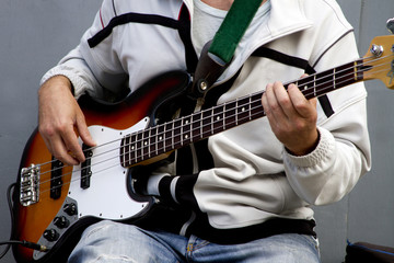 Bass Guitar Player playing