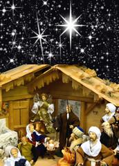 Weihnachtskrippe mit Sternenhimmel