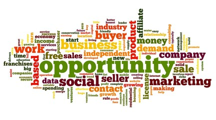 Opportunity concept in word tag cloud