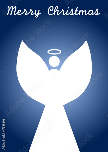 Silhouette of a standing angel, white on blue with text