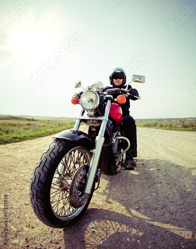 Biker on the country road