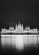 Parliament, Budapest, Hungary at night in black and white