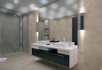 bathroom interior in bright colors