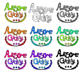 Hand drawn awesome quality labels. Vector icon set