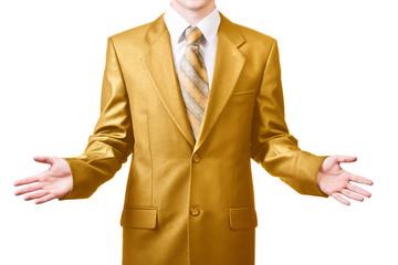 Businessman in golden suit