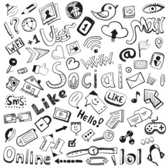 Vector hand drawn icons: big set of modern social doodles
