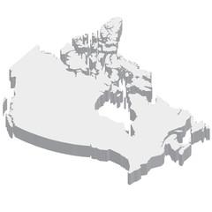 カナダ 地図 3D 立体