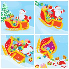 Santa Claus in his sleigh slides down