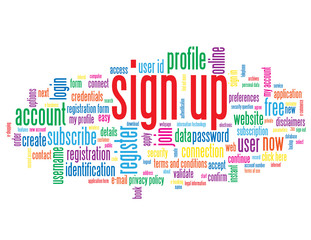 """SIGN UP"" Tag Cloud (register subscribe join apply click here)"