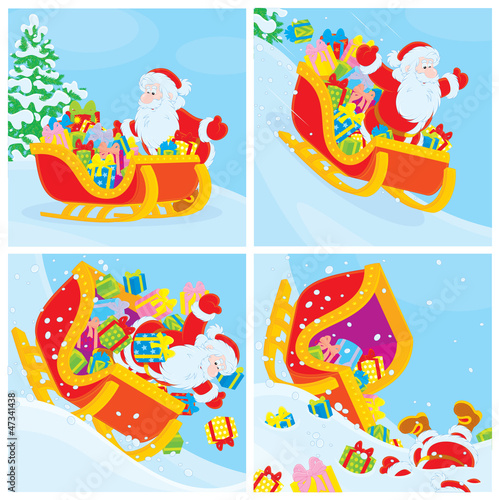 Santa Claus in his sleigh slides down