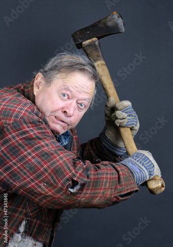Insane old man with axe