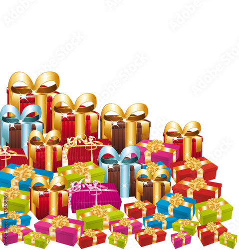 Huge pile of colorful festive gifts.