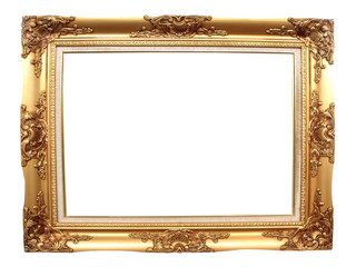 Old picture frame on white background.