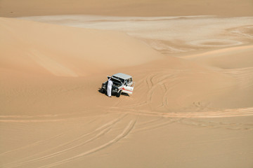 Broken car in desert of Egypt