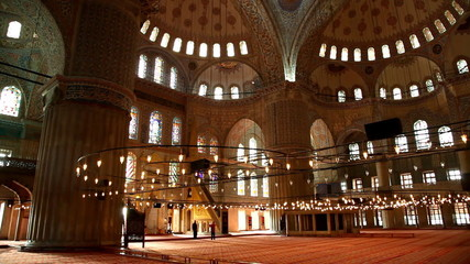 Inside the Blue mosque. Istanbul, Turkey