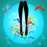 Vector fish spa pedicure wellness care treatment
