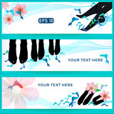 Fish spa pedicure set of horizontal vector banners