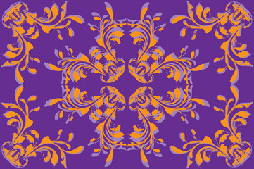 Yellow flower pattern on violet background