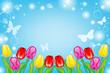 Tulips in Sunny sky