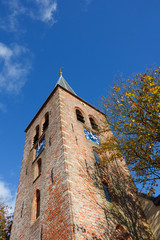 Church tower in northern Dutch village