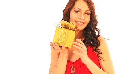 Beautiful woman with gift box.