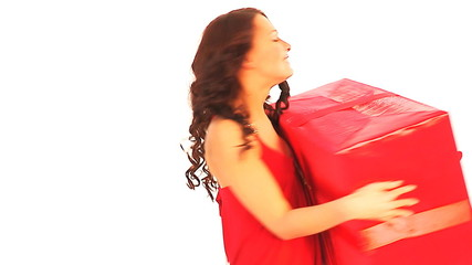 Woman with big gift box.