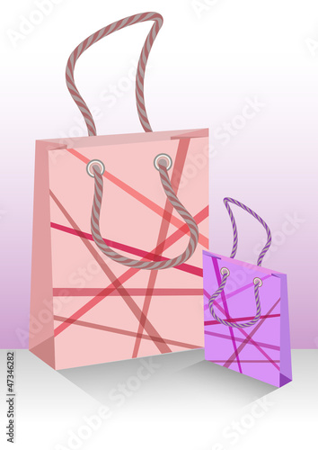 Big and small color shopping bags